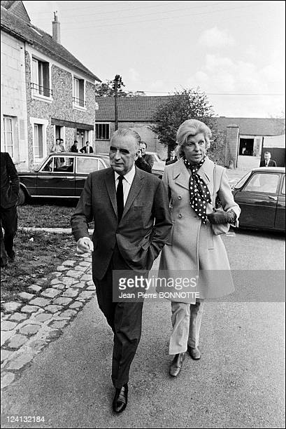 Georges Pompidou with his wife Claude In Orvilliers France In April 1969 April 1969