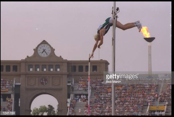 MAXIM TARASSOV OF THE EUN ATTEMPTS TO CLEAR THE BAR DURING THE MENS POLE VAULT COMPETITION AT THE 1992 BARCELONA OLYMPICS TARASSOV WON THE GOLD MEDAL...