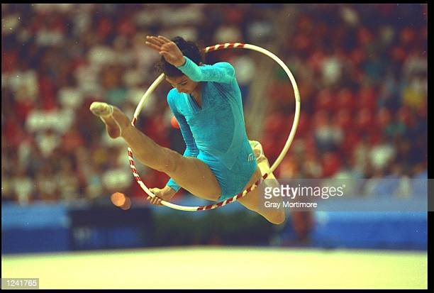 CHRISTIANE KLUMP OF GERMANY PERFORMS HER ROUTINE WITH THE HOOP DURING THE RHYTHMIC ALLAROUND COMPETITION AT THE 1992 BARCELONA OLYMPICS