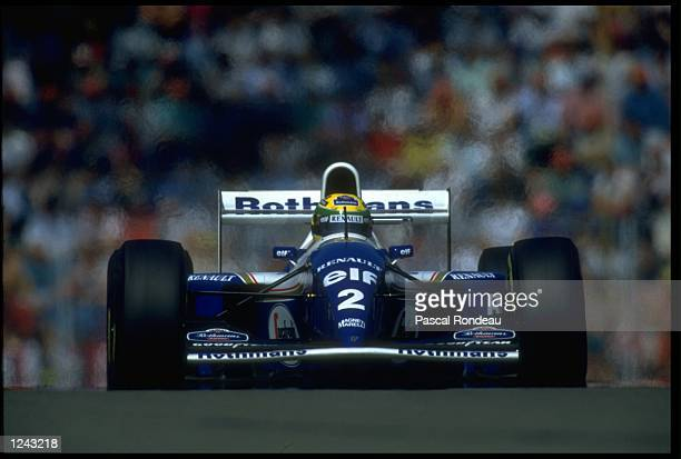 AYRTON SENNA OF BRAZIL RACES HIS WILLIAMS RENAULT DURING THE SAN MARINO GRAND PRIX IMOLA UNFORTUNATELY FOR SENNA THIS TURNED OUT TO BE HIS LAST RACE...