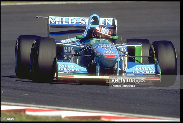 MICHAEL SCHUMACHER OF GERMANY DRIVING HIS BENETTON FORD COSWORTH DURING THE JAPANESE GRAND PRIX IN SUZUKA DAMON HILL WON THE RACE WITH MICHAEL...