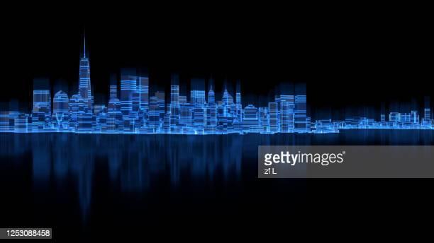 三維渲染的數字城市夜景 - binary code stock pictures, royalty-free photos & images