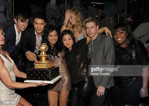 Kevin McHale, Harry Shum, Naya Rivera, Jenna Ushkowitz, Heather Morris, and Amber Riley celebrate Naya Rivera's birthday at The Bank Nightclub,...