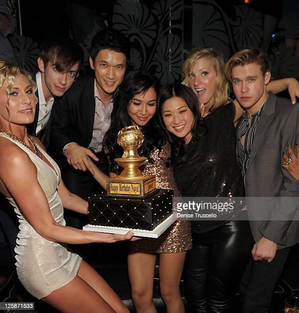 Kevin McHale, Harry Shum, Naya Rivera, Jenna Ushkowitz and Heather Morris celebrate Naya Rivera's birthday at The Bank Nightclub, Bellagio Hotel And...