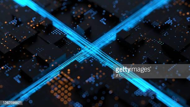 藍色科技線條在智慧城市 - big data city stock pictures, royalty-free photos & images