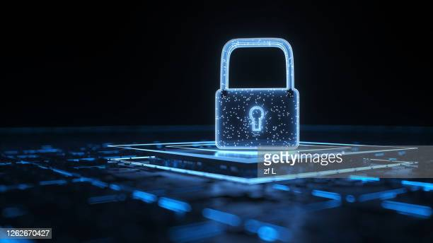 藍色網絡上的鎖 - security stock pictures, royalty-free photos & images