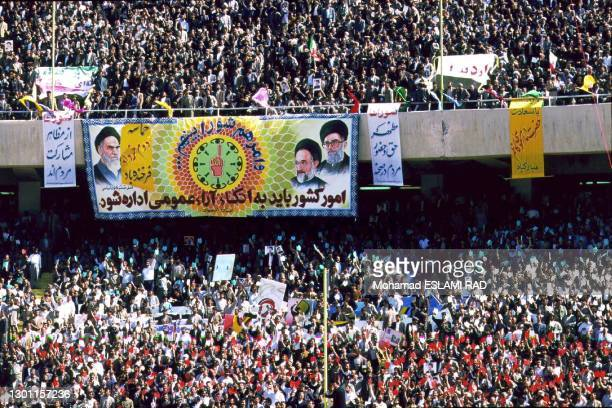 PRESIDENT SEYED MUHAMMAD KHATAMI MAKES SPEECH IN FRONT OF 100000 PEOPLE AT AZADI SPORTS STADIUM TO MARK 2ND ANNIVERSARY TO HIS COMING TO POWER,