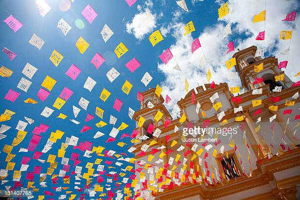 BUNTING OUTSIDE CHURCH IN SAN CRISTOBAL MEXICO