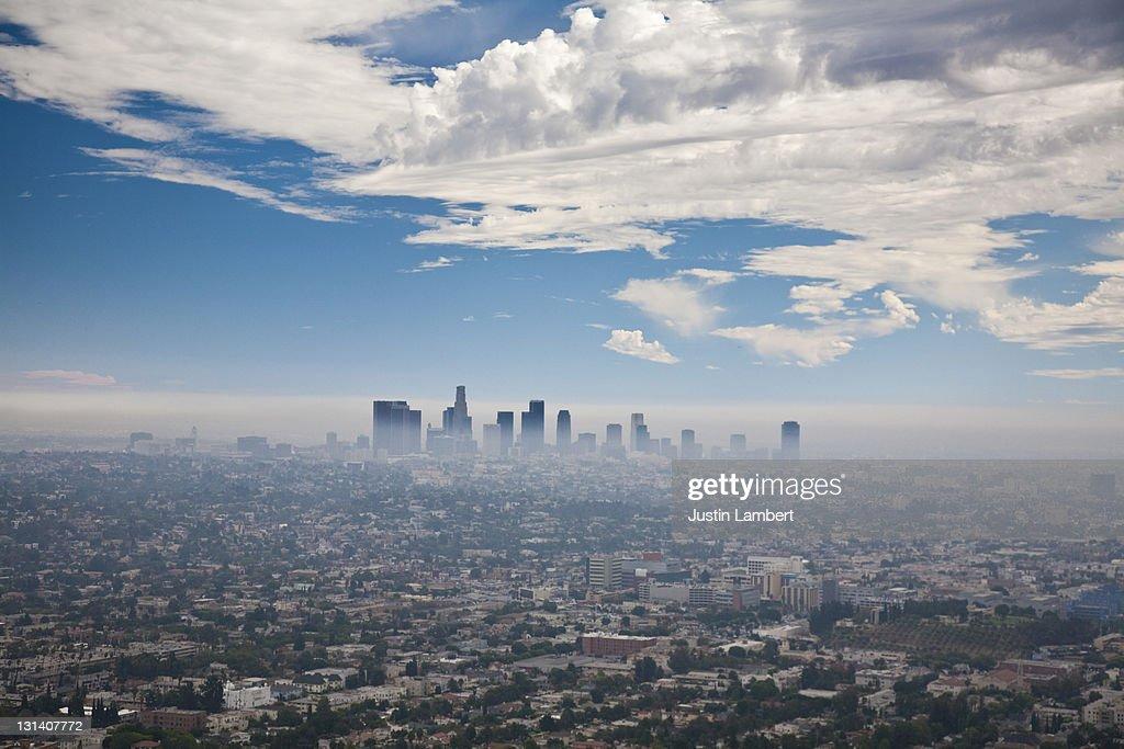LOS ANGELES SKYLINE WITH SMOG : Stock Photo