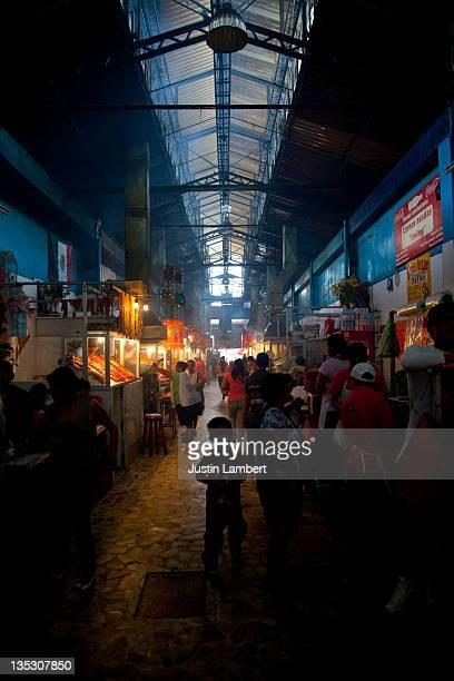 SMOKE FILLED MEAT MARKET IN OAXACA MEXICO