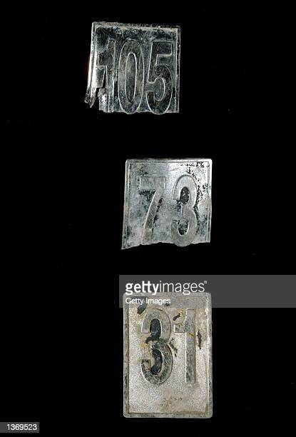Elevator floor markers from the World Trade Center which were recovered from Ground Zero are part of an exhibit 'September 11 Bearing Witness to...