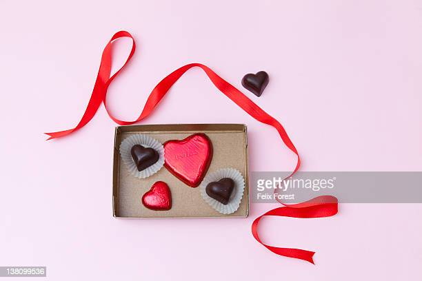 valentine's day - box of chocolate stock pictures, royalty-free photos & images
