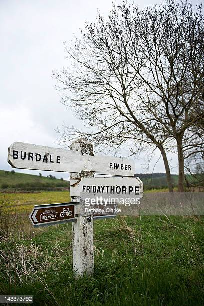 The area near Thixendale April 25 2012 in the Yorkshire Wolds United Kingdom David Hockney painted landscapes along this route in the Wolds to create...