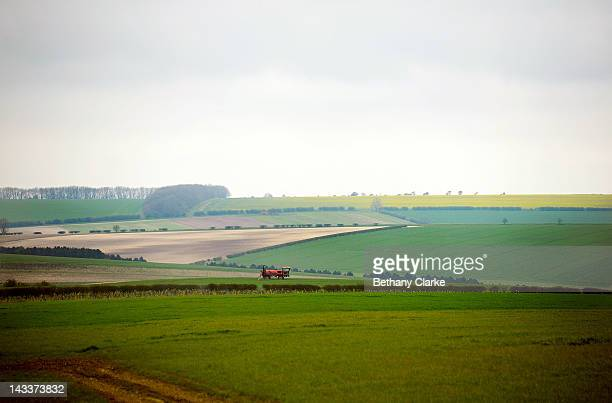 Spring fields and hedgerows April 25 2012 in the Yorkshire Wolds United Kingdom David Hockney painted landscapes along this route in the Wolds to...