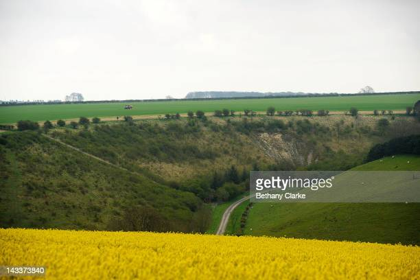 Thixendale Valley April 25 2012 in the Yorkshire Wolds United Kingdom David Hockney painted landscapes along this route in the Wolds to create his...