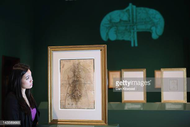 Hanae Tsuji poses next to a drawing of a drawing by Leonardo da Vinci of a woman's Cardiovascular system dated 150910 which makes up part of a new...