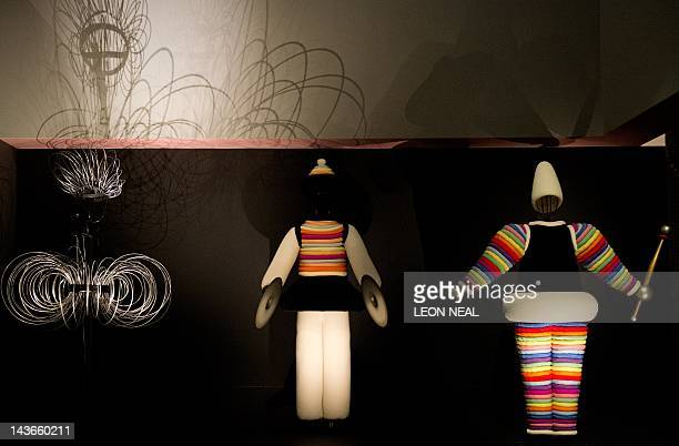 Wire figure Turc 2 and Turc 1 of the Triadic Ballet by German artist Oskar Schlemmer are displayed in the Barbican centre in central London on May 2...