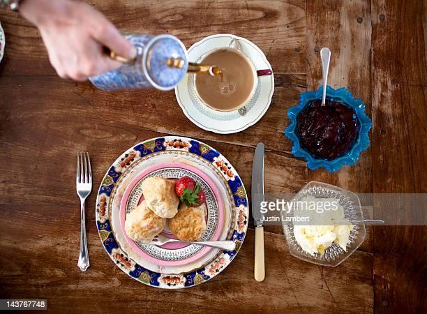 english cream tea still life - english teapot stock pictures, royalty-free photos & images
