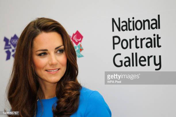 Catherine Duchess of Cambridge visits the 'Road To 2012 Aiming High' exhibition at the National Portrait Gallery on July 19 2012 in London England...