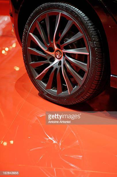 An Alfa Romeo logo is seen on the wheel of the Alfa Romeo Mito car at the Paris Motor Show on September 27 2012 in Paris France The Paris Motor Show...