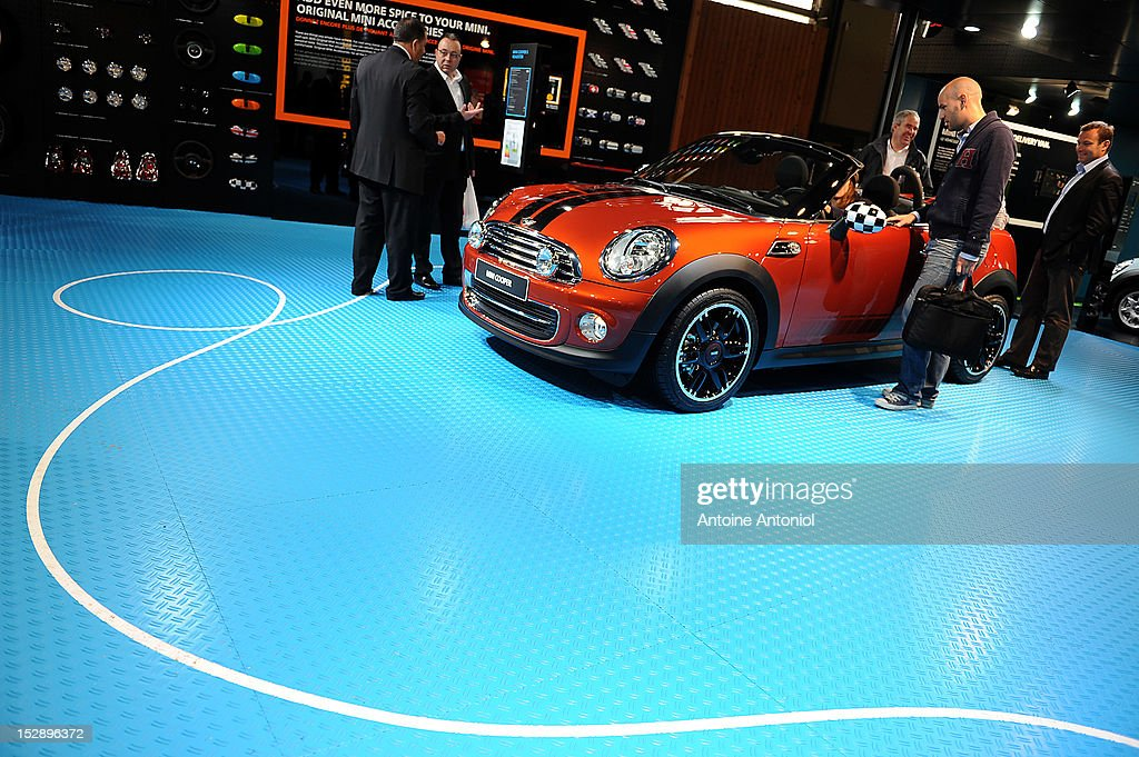 An Austin Mini Cooper car sits on display at the Paris Motor Show on September 28, 2012 in Paris, France. The Paris Motor Show runs September 29 - October 14.