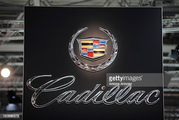 Cadillac logo is seen at the Paris Motor Show on September 28 2012 in Paris France The Paris Motor Show runs September 29 October 14