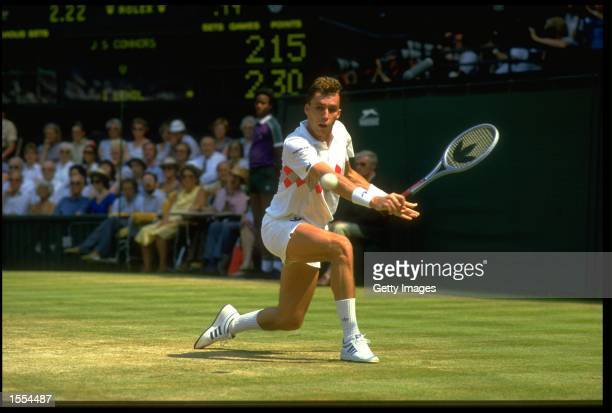 IVAN LENDL OF CZECHOSLOVAKIA PLAYS A BACKHAND SHOT DURING HIS SEMIFINAL MATCH AGAINST JIMMY CONNORS OF THE UNITED STATES AT THE 1984 WIMBLEDON TENNIS...