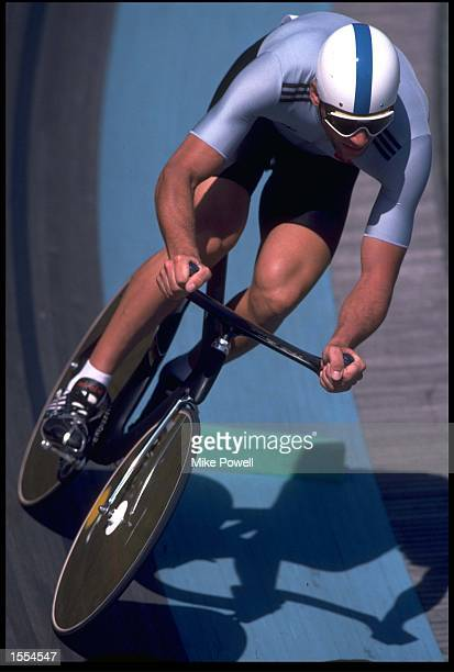 BERND DITTERT OF WEST GERMANY IN ACTION DURING THE QUALIFYING STAGES OF THE 4000 METRES INDIVIDUAL PURSUIT