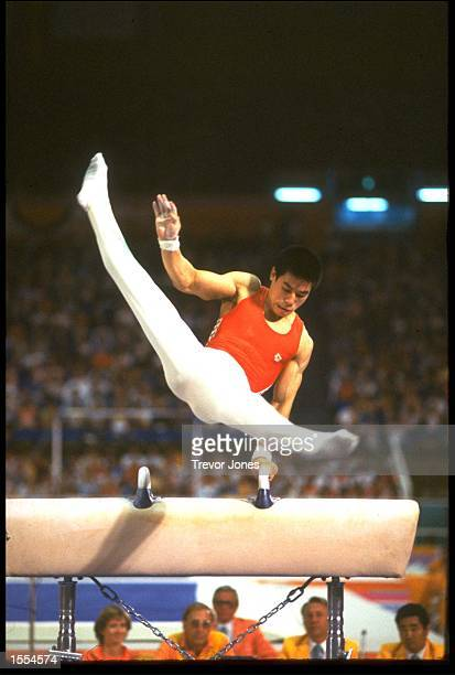 LI NING OF CHINA IN ACTION ON THE POMMEL HORSE AT THE 1984 LOS ANGELES OLYMPICS NING WON THE GOLD MEDAL WITH A SCORE OF 1995 POINTS