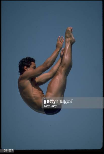 GREGORY LOUGANIS OF THE UNITED STATES IN THE PIKE POSITION DURING THE PRELIMENARY ROUND OF THE SPRING BOARD DIVING COMPETITION