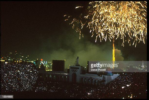 THE FIREWORKS EXPLODE HIGH IN THE SKY DURING THE CLOSING CEREMONY OF THE 1984 SUMMER OLYMPICS HELD IN LOS ANGELES IN THE UNTIED STATES.