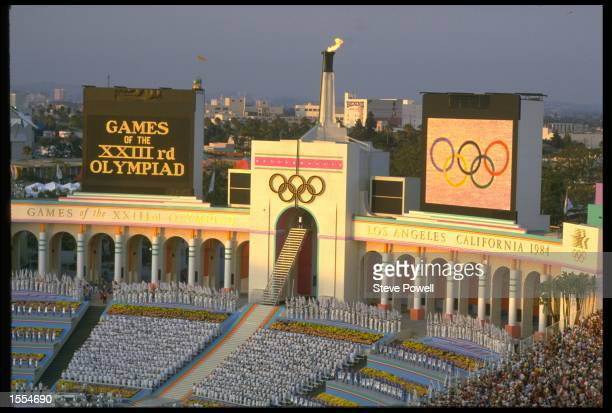 A GENERAL VIEW OF THE OLYMPIC STADIUM TAKEN DURING THE OPENING CEREMONY OF THE 1984 SUMMER OLYMPICS HELD IN LOS ANGELES IN THE UNITED STATES