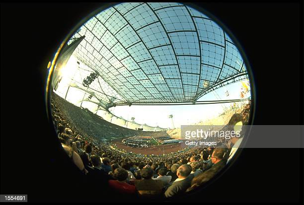 A FISHEYE VIEW OF THE OPENING CEREMONY AT THE 1972 MUNICH SUMMER OLYMPICS