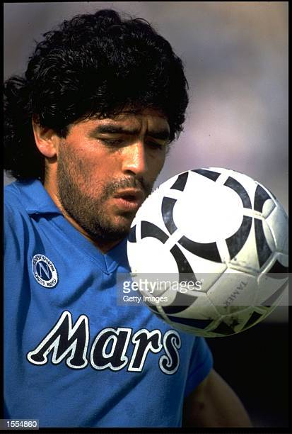 DIEGO MARADONA OF NAPOLI CONTROLS THE BALL DURING AN ITALIAN SERIE A MATCH IN THE SAN PAOLO STADIUM