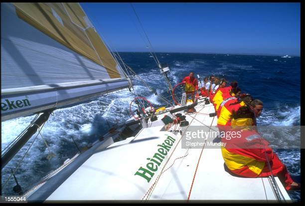 SKIPPER OF HEINEKEN DAWN RILEY AT THE HELM AS THEY DEPART FREMANTLE, AUSTRALIA TO BEGIN LEG THREE OF THE WHITBREAD ROUND THE WORLD YACHT RACE.