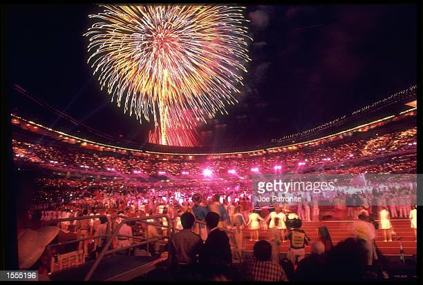FIREWORKS EXPLODE ABOVE THE STADIUM DURING THE FINALE OF THE CLOSING CEREMONY OF THE 1988 SEOUL OLYMPICS