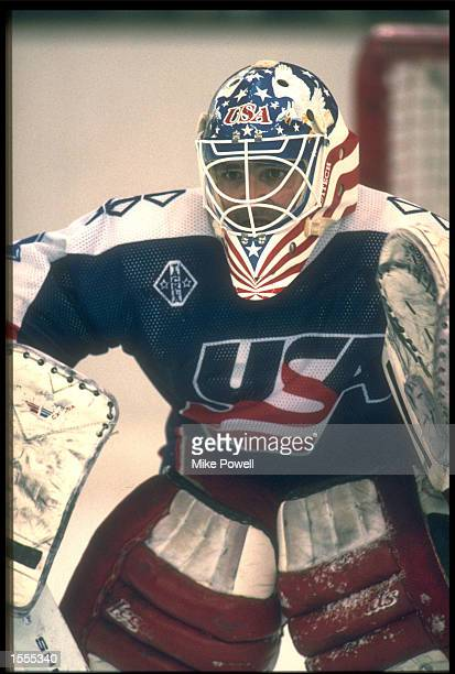 RAY LEBLANC OF THE UNITED STATES IS PHOTOGRAPHED DURING AN ICE HOCKEY MATCH AGAINST SWEDEN AT THE 1992 WINTER OLYMPICS IN ALBERTVILLE