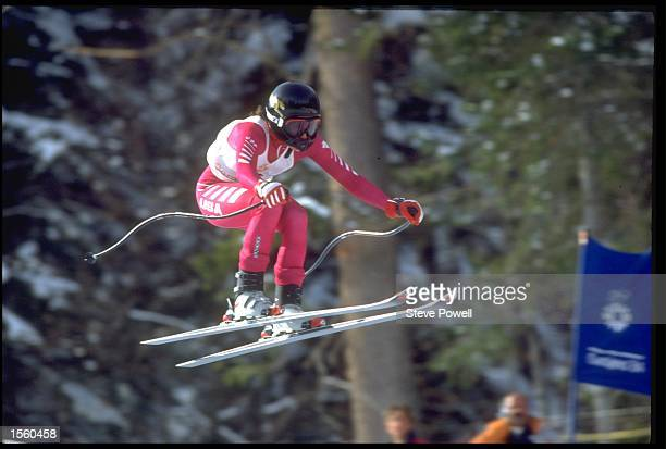 HOLLY FLANDERS OF THE USA COMPETING IN THE ALPINE SKIING WOMENS DOWNHILL EVENT AT THE 1984 WINTER OLYMPICS IN SARAJEVO YUGOSLAVIA