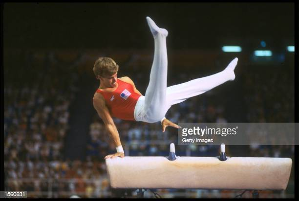 PETER VIDMAR OF THE UNITED STATES PERFORMS HIS ROUTINE ON THE POMMEL HORSE DURING THE MENS GYMNASTIC COMPETITION AT THE 1984 LOS ANGELES OLYMPICS...
