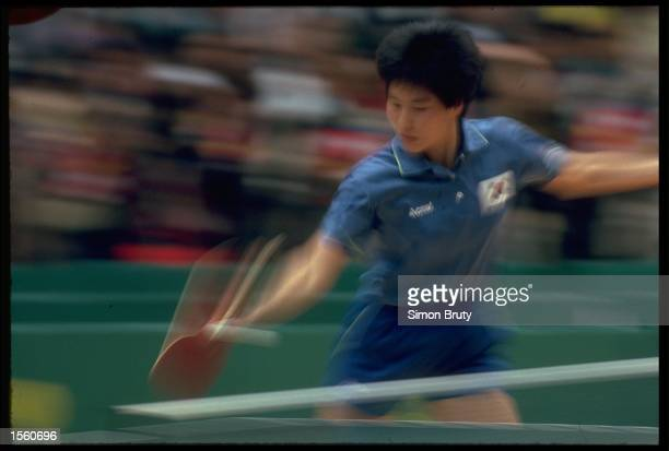 AN IMPRESSION SHOT TAKEN DURING THE WOMENS DOUBLES TABLE TENNIS FINAL AT THE 1988 SUMMER OLYMPICS HELD IN SEOUL IN SOUTH KOREA