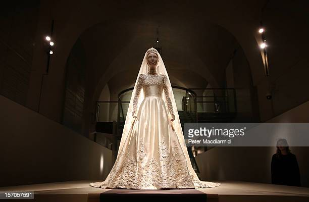 The wedding dress of Princess MarieChantal of Greece from 1995 is displayed at the 'Valentino Master of Couture' exhibition at Somerset House on...