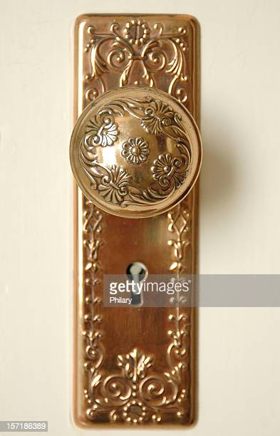 copper door knob 2 - brass stock pictures, royalty-free photos & images