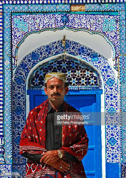 sindhi man with traditional sindhi topi and ajrak - sindhi culture stock photos and pictures