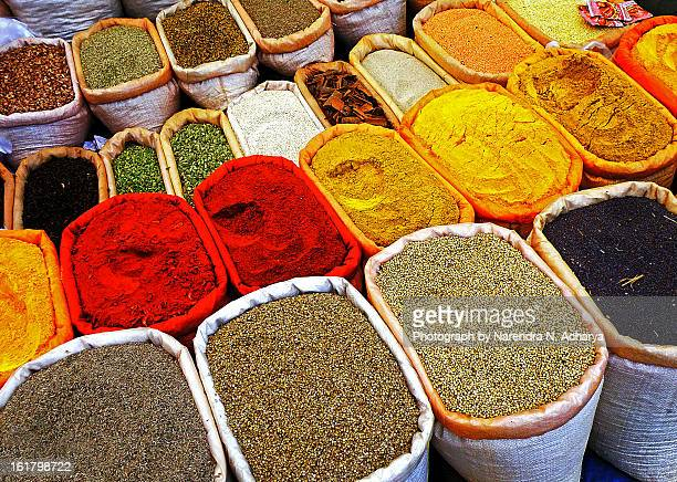spices (village sunday market) - garam masala stock photos and pictures