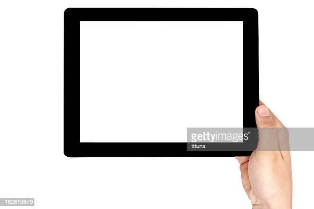 main tenir tablette numérique, découpe sur un arrière-plan blanc - hommes et femmes nus photos et images de collection