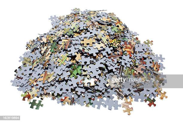 puzzle pieces, cut out on white background - raadsel stockfoto's en -beelden