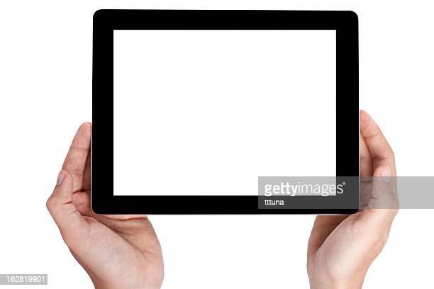 Mão segure tablet digital, cortado em fundo branco