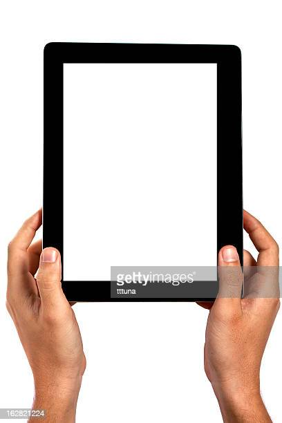 mão segure tablet digital, cortado em fundo branco - vertical imagens e fotografias de stock