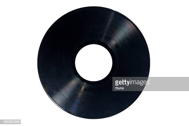 music record, cut out on white background - grooved stock pictures, royalty-free photos & images