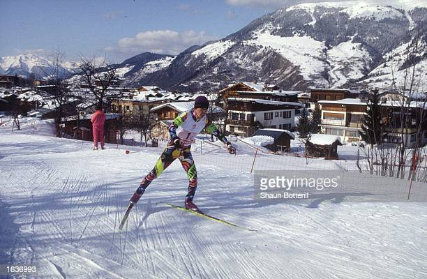REIICHI MIKATA OF JAPAN IN ACTION IN THE TEAM NORDIC COMBINED 10KM CROSS COUNTRY SKI COMPETITION DURING THE 1992 ALBERTVILLE WINTER OLYMPICS MIKATA...